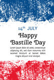 Vector illustration Bastille Day, French flag in trendy grunge style. 14 July design template for poster, banner, flayer Royalty Free Stock Images