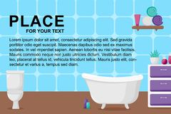 Bathroom interior in cartoon style vector illustration