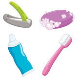 Vector Illustration Of Bathroom Items Royalty Free Stock Photo
