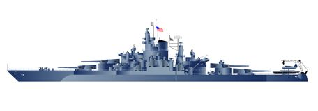Vector illustration of battleship. Detailed  illustration of battleship Tennessy Stock Images