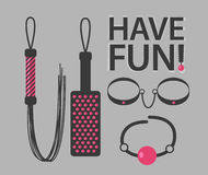 Vector illustration of BDSM toys. With Have Fun text vector illustration
