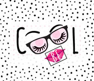 Vector illustration of be cool inspirational quote background. With hand drawn lips, eyes, eyebrows, eyelashes, text sign, pink sunglasses, square frame Royalty Free Stock Photos