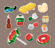 Vector illustration of beach accessories stickers Stock Photography