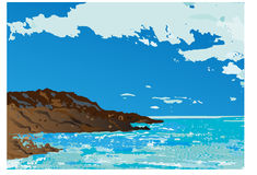 Vector illustration - beach and sea Stock Image