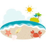 A vector illustration of beach side with cute taste vector illustration