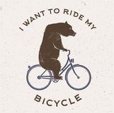 Vector Illustration of the bear on bicycle. Stock Photos