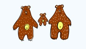 Vector illustration. Bear family. Three brown bears. Daddy bear Mother bear and little bear. For creating clothing design royalty free illustration