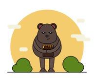 Cute bear with honey in cartoon style vector illustration
