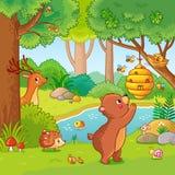 Vector illustration with a bear who wants honey. Royalty Free Stock Photo