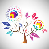 Vector illustration of beautiful abstract colourful tree with sun Royalty Free Stock Photo