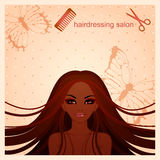 Vector illustration of beautiful Afro-American girl. For a hairdressing salon Royalty Free Stock Photography
