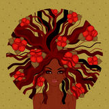 Vector illustration of beautiful Afro-American girl. With red flowers Royalty Free Stock Image