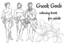 Vector illustration of beautiful antique Greek Gods isolated on a white background. Hand drawn vintage people in black outline style. Classicism. Coloring book Stock Photos