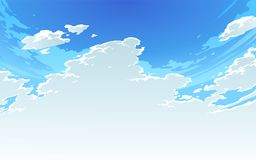 Vector illustration of beautiful bright cloudy sky in Anime Style. 2. Vector illustration of beautiful bright cloudy sky in Anime Style. Summer sky background 2 royalty free illustration