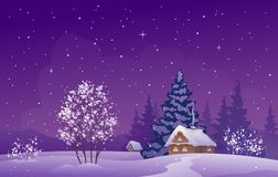 Winter twilight landscape. Vector illustration of a beautiful Christmas snow covered landscape Stock Photos