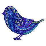Vector illustration of beautiful decorative bird in  doodle styl Stock Photos
