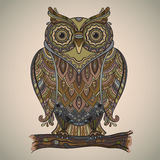 Vector illustration of beautiful decorative owl with a lot of de Royalty Free Stock Photography