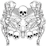 Vector illustration of beautiful elf with ram and human skull wings and flowers Royalty Free Stock Images
