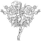 Vector illustration of beautiful elf twins Royalty Free Stock Photos