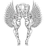 Vector illustration of beautiful elf twins Stock Photos