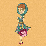 Vector illustration of a beautiful fashion girl in sunglasses,printed dress with bag. Glamorous lady on color background Stock Photos