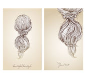 Vector illustration of  beautiful female hairstyle. Stock Images