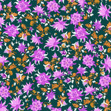 Vector illustration of beautiful flower pattern. Abstract pink flowers and orange leaves on green background royalty free illustration