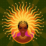 Vector illustration of the beautiful girl for a carnival in Brazil. Vector illustration of the beautiful black girl for a carnival in Brazil Royalty Free Stock Photography