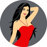 Vector illustration of a beautiful girl with long hair a circular frame. Royalty Free Stock Photo