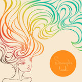 Vector illustration of a beautiful girl with long wavy hair. Portrait of a beautiful girl with long wavy hair. Stylized colorful background in linear style with Royalty Free Stock Photos