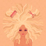Vector illustration of the beautiful girl Royalty Free Stock Images