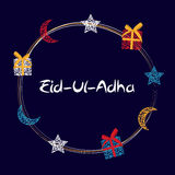 Vector Illustration of Beautiful Greeting Card Design  'Eid Adha. ' (Festival of Sacrifice) EPS10 Royalty Free Stock Photo