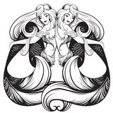 Vector illustration of beautiful mermaid with nautilus  in realistic hand drawn sketch line stile. Stock Photography