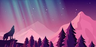 Vector illustration of beautiful northern lights in night sky over the mountains. View of the forest, wolf in the royalty free illustration