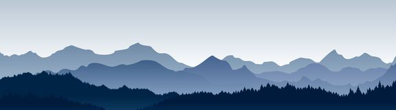 Vector illustration of beautiful panoramic view. Mountains in fog with forest, morning mountain background, landscape.