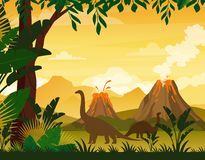 Vector illustration of beautiful prehistoric landscape and dinosaurs. Tropical trees and plants, mountains with volcano. In flat cartoon style royalty free illustration