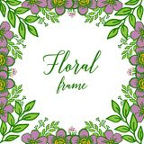 Vector illustration beautiful purple floral frame with green leaves on white background stock illustration