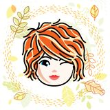 Vector illustration of beautiful red-haired happy girl face, positive face features, teenager winking. Autumn theme clipart royalty free illustration