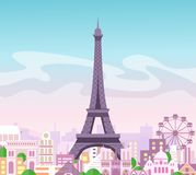 Vector illustration of beautiful skyline city view with buildings and trees in pastel colors. Symbol of Paris in flat royalty free illustration
