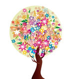 Flower tree. Vector illustration with beautiful stylized flower tree Royalty Free Stock Image