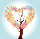 Flower heart tree. Vector illustration with beautiful stylized flower tree in the form of heart Royalty Free Stock Image