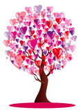 Love tree. Vector illustration with beautiful stylized  tree with pink and red leaves in the shape of hearts Royalty Free Stock Photography
