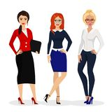 Vector illustration of beautiful successful businesswoman. Office girls workers in flat cartoon style. vector illustration