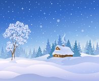 Christmas cabin. Vector illustration of a beautiful winter landscape with a snow covered cabin in a forest stock illustration