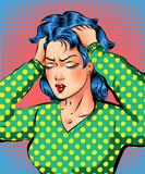 Vector pop art beautiful woman getting headache Royalty Free Stock Image