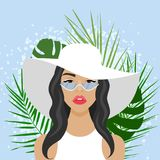 Vector illustration with beautiful woman with hat Royalty Free Stock Photo