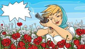 Vector illustration of a beautiful woman shoots. A gun Royalty Free Stock Photos