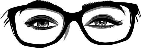Vector illustration Beautiful Women Eyes with make up stock photo