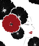 Vector illustration of beautiful women face with abstract flowers Royalty Free Stock Photography