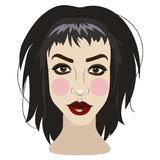 Vector illustration of beautiful young brunette woman. On white Royalty Free Stock Photo
